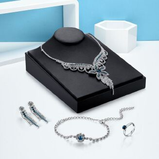 Fashion Micro-inlaid Crystal Necklace Earrings Ring Jewelry Set Of Four