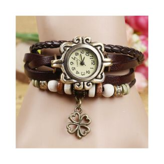 Fashion Retro Fashion Woven Lady's Bracelet List Women's Bracelet List Fashion Clover Watches-Red