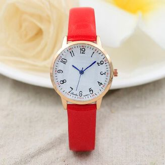 Fashion Siwenfe Shop Women Fashion Color Strap Digital Dial Leather Band Quartz Analog Wrist Watches