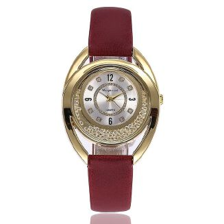 Fashion Siwenfe Shop Women Leather Diamond Watch Female Crystal Stainless Steel Wrist Watch