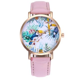 Fashion Woman Leather Band Analog Quartz Round Wrist Watch Watches