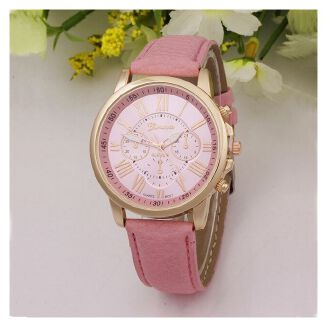 Fashion Women Casual Leather Wrist Watch Analog Ladies Dress-Pink