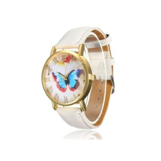 Fashion Fashion Womens Ladies Watches Butterfly Leather Strap Analog Quartz Wrist Watch White