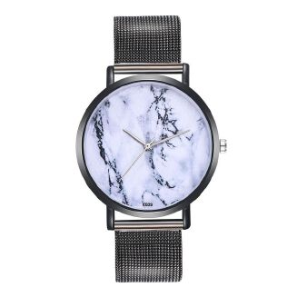 Fashion Herkiller Woman Fashion Plant Pattern Alloy Steel Strap Analog Quartz Round Watch-Black