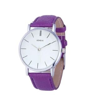 Fashion Watches Women Casual Time Clock Men Watch Pu Leather-Multi