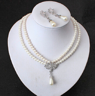HN Brand-3 Pcs/Set Vintage Simulated Pearl Jewelry Sets For Women Wedding Bridal Crystal Necklace Earrings Gold Color Set