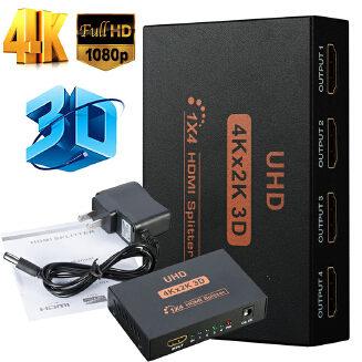 Ultra HD 4K 4 Port HDMI Splitter 1x4 Repeater Amplifier 1080P 3D Hub 1 In 4 Out