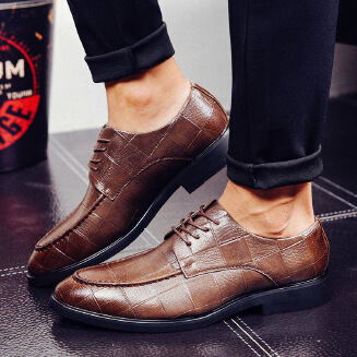 Men's British check dress shoes pointed toe formal business leather shoes