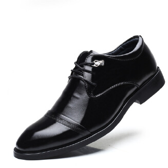 Men's British pointed formal business leather shoes Lace up