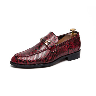 Men's pointed snakeskin pattern Leather shoes business dress shoes