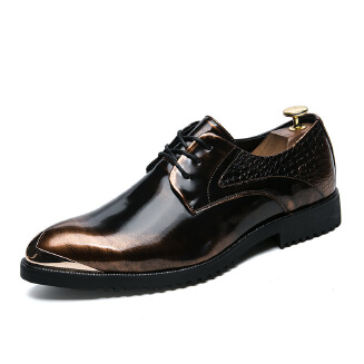Men's formal business pointed leather shoes Lace up Dress shoes