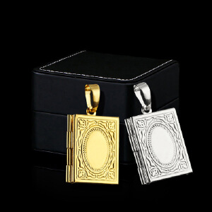 Retro can open pendant rectangular Muslim photo box men's stainless steel necklace wholesale with necklace Men