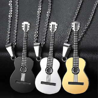 new creative stainless steel guitar pendant necklace guitar music jewelry cross-border wholesale with necklace