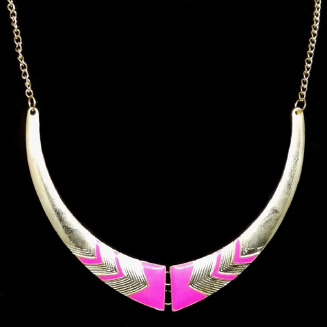 V-shaped drip oil moon necklace gold-plated choker