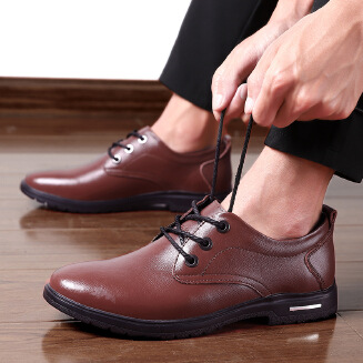 Men's Simple Formal Leather Shoes Business Non-slip Derby Shoes