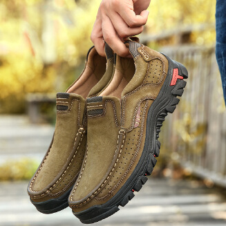 Men's cowhide casual shoes outdoor Soft bottom tooling shoes plus size