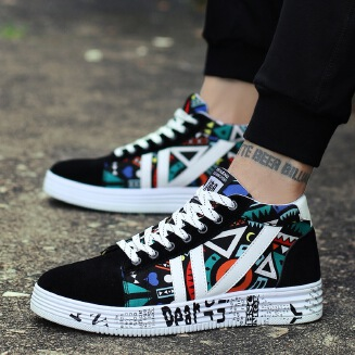 American Street Style Sneakers Women Girl Casual Shoes Leisure Graffiti PU Sneakers