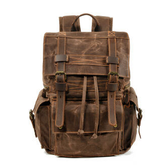 European and American retro style backpack men canvas and leather computer bag outdoor waterproof travel bag