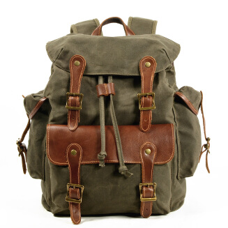 Casual Outdoor Backpack Men's Canvas Bag Travel Retro Western Cowboy Backpack