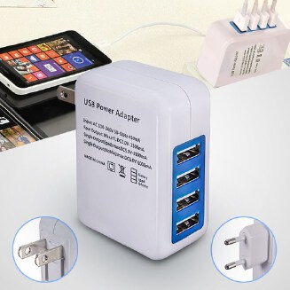 4-Port Universal Wall USB Charger Adapter Mobile Phone Charge 5V/3A Fast Charging for Apple iPhone 8 7 iPad Samsung