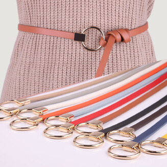 Women's new thin belt with sweater dress decoration knotted small belt wild ladies round buckle belt JX0618 649