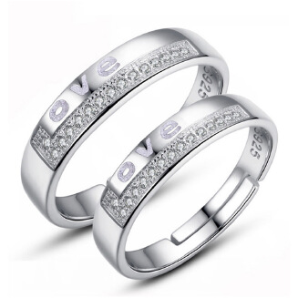 Ring cross border hot style accessories couple ring female diamond-encrusted letter opening wedding ring silver-plated overbearing American men's ring