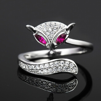 Open ring Korean edition fashion set diamond ring sound of animal ring with a double row of diamonds versatile ring open ring female