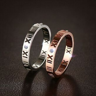 Roman numeral ring encrusted with diamond rings throughout the year Silver hollow out Ring Rose golden Couple ring Zircon