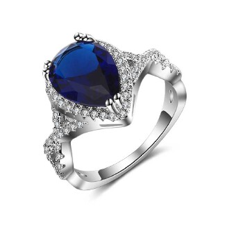 Platinum plated ring manufacturers straight hot style sapphire blue pear shaped platinum plated ring fashion popular