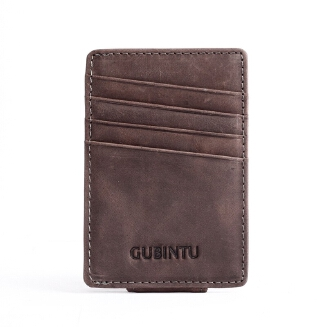 Goodwinfashion Vintage Slim Wallets Men Cards Wallet Male Genuine Leather Solid Card Holders Leather Frosted Male Change Purse Magic Button