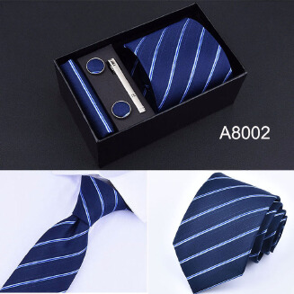 5PCS Wide Tie Sets Men Neckties Handkerchiefs Cufflinks Box Gift Polyester Silk Handmade Ties