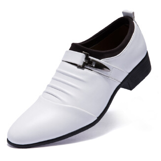 Men's pointed British business shoes large size slip-on black low-top dress casual shoes