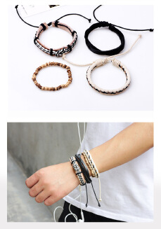Hand-woven bracelet European and American hot selling multi-layer combination bracelet adjustable leather hand-knitted manufacturers wholesale