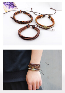 Knitted leather bracelet chino jewelry Japan and South Korea new fashion knitted leather bracelet multiple manufacturers wholesale a generation
