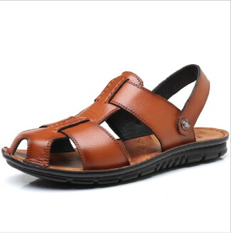 New creative trend leather beach shoes men's leather large size non-slip sandals