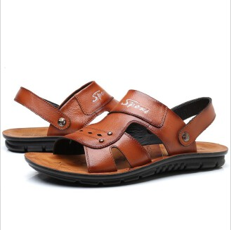 Summer new trend cowhide beach shoes men's casual massage non-slip sandals