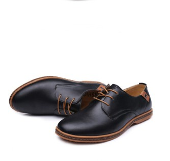 Men's plus size casual leather shoes with breathable business casual shoes