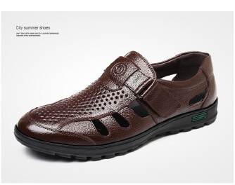 Summer men's large size hollow leather sandals trendy breathable casual slip-on shoes