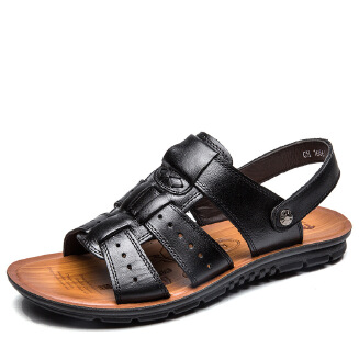 Summer new large size open toe sandals men's leather casual breathable beach shoes