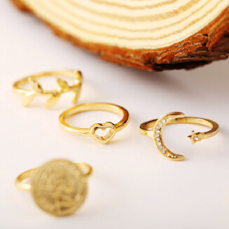 17KM 2020Coin Women Ring Crescent Joint Ring 6 Pieces Set Creative Retro Leaf Ring Hollow Heart Rings For Female Star Moon Opening Rings