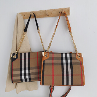 Large bag with wide shoulder strap, plaid shoulder, diagonal shoulder, portable chain, women's bag, canvas print, tote bag