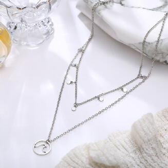 17KM Boho Multilayer Necklace Gold color Coin Chokers Necklace Women Waves Pendant Necklace Charm Collares Cortos Mujer