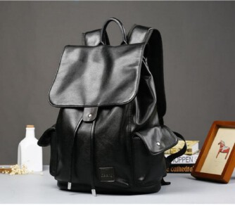 Street Large Capacity Backpack Leather Flap College Backpack