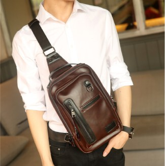 Fashion Casual Men's Shoulder Bag Crossbody Wearable Crazy Horse Leather Chest Bag