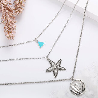 17KM Multilayer Necklace for Women Lotus Starfish Star Shape Pendant Necklace Gift Ethnic Bohemian Stone Choker collier Party Jewelry