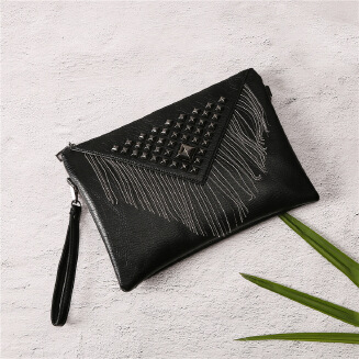 Tassel Studded PU Leather Waterproof Lady Clutch