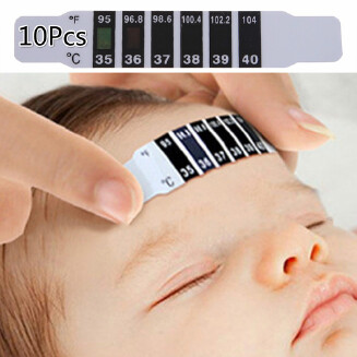 MJlife 10Pcs Forehead Head Strip Fever Thermometer Baby Child Adult Body Check Test Temperature Monitoring