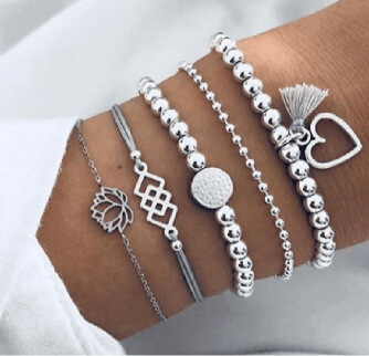 17KM 5 Pcs/Set Vintage Lotus Heart Tassel Pendant Bracelet Set Charm Silver Beads Geometric Square Bracelets Jewelry for Women