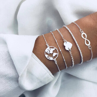 17KM 5 Style Vintage Bohemia Silver Color Heart Map Bracelets & Bangles For Women Girls Silver Chain bracelet femme pulseras