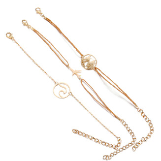 17KM 3 PCS/Set Fashion Accessories Simple Weave Rope Chain Wave Map Aircraft Bracelets Set for Women Gold Bangle Jewelry Party Gifts